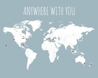 husband gift world map travel map diy gifts for him anywhere with