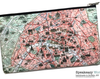 World map coin purse etsy vintage map paris franceworld map artwork worldmap travel bag boarding pass bag passport bag makeup bag gumiabroncs Images