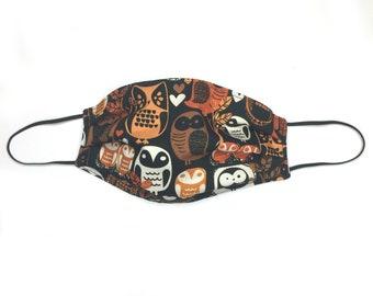 Autumn Owl Face Mask--Surgical-Style Mask, Animals, Forest, Birds, Halloween, Fall, Spooky, Unisex, Owls, Birder, Bird Lover, Teacher
