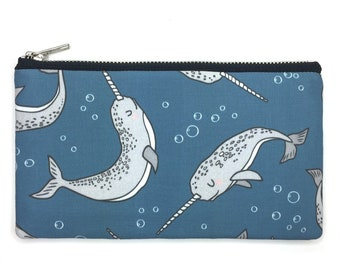 Narwhal, Narwhale Bag—Pencil Case, Pen Case, Pouch, Project Bag, Ocean Animal, Sea Creature, Arctic, Sea Unicorn, Mermaid
