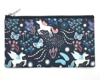 Glow in the Dark Unicorn Bag—Pencil Case, Pen Case, Pouch, Project Bag, Magical, Fantasy, Flowers, Treasure, Butterfly, Pink, Blue, Fairy