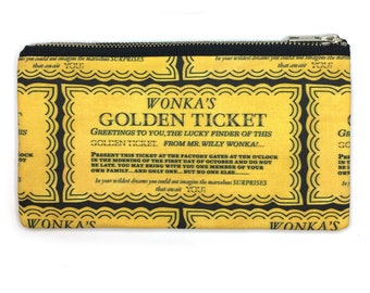 Wonka's Golden Ticket Print Bag—Pencil Case, Pen Case, Pouch, Project Bag, Movie Lover, Chocolate, Luck, Book Lover, Childhood, Magic, Retro