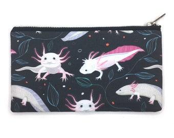 Axolotl Print Bag—Pencil Case, Pen Case, Pouch, Project Bag, Mexican Walking Fish, Salamander, Amphibian, Aquatic Animals, Endangered,