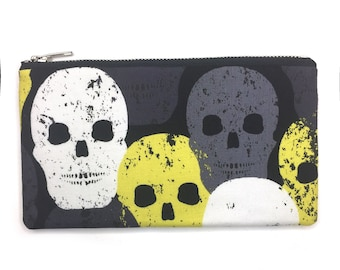 Skull Print Bag—Pencil Case, Pen Case, Pouch, Project Bag, Goth, Dark, Halloween, Scary, Wallet, Makeup Case, Charger Case, School, Student