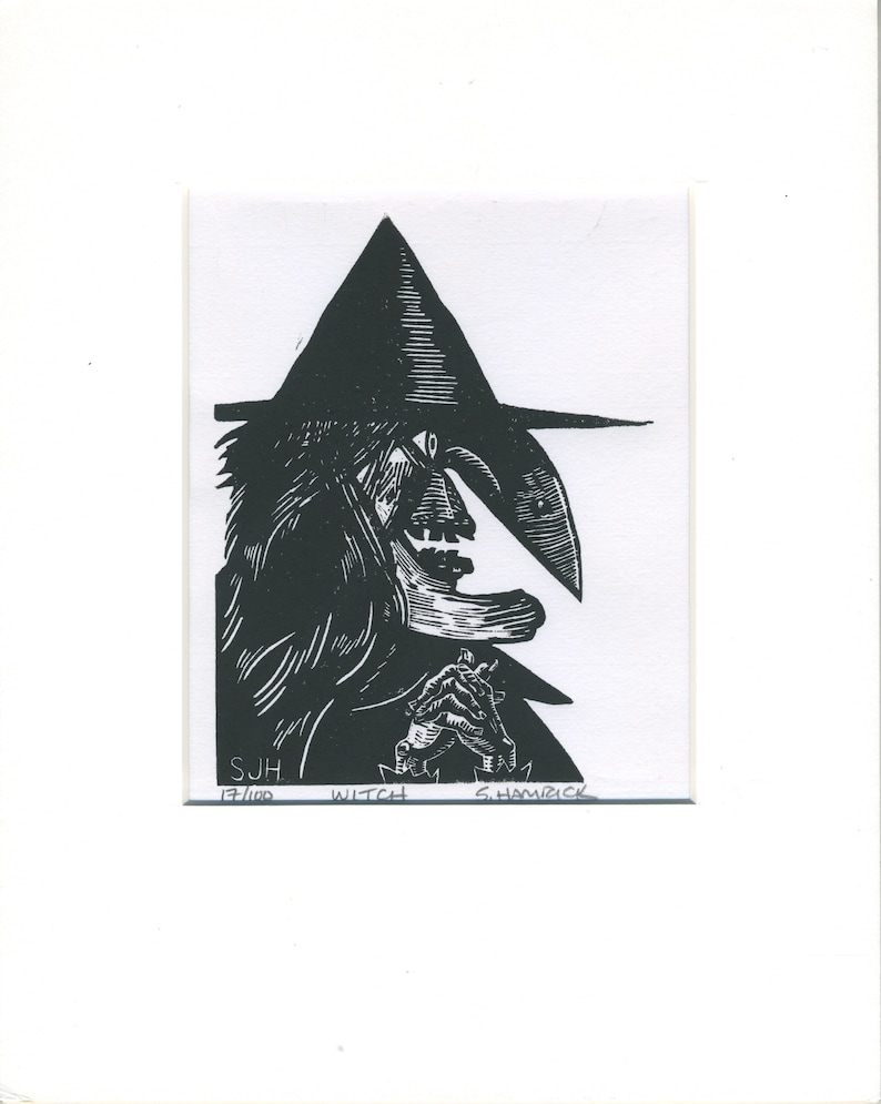 Witch linocut