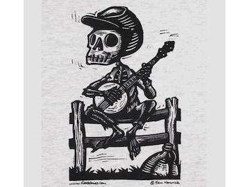 Skeleton Banjo Tshirt Calavera Banjer Bones