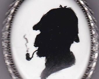 Handpainted Sherlock Holmes pin/pendant