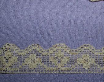 Antique Edwardian 1920s  Net Lace Trim  Millinery Boudoir Flapper Ecru