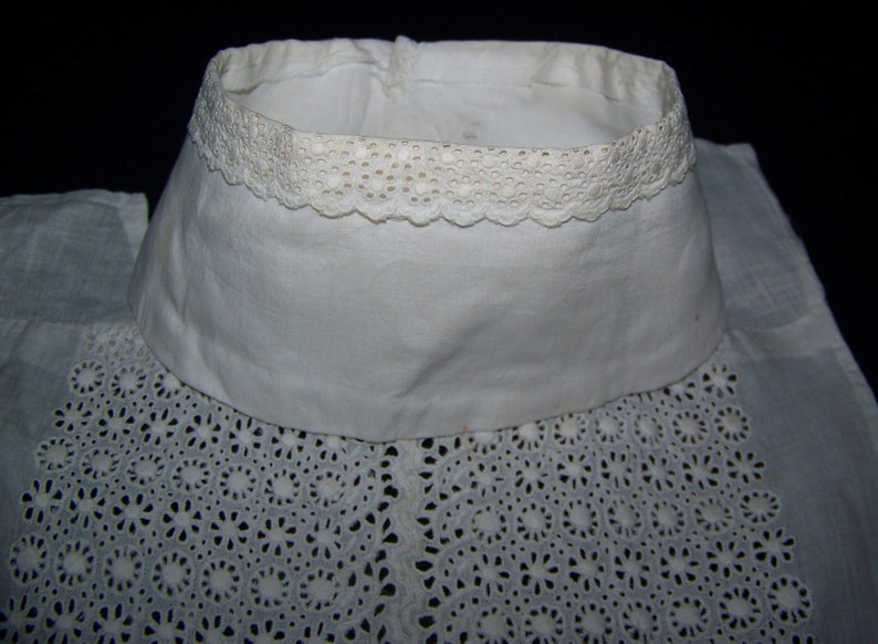 ANTIQUE Hand Sewn Whitework High Neck and Bodice for Sewing Bridal