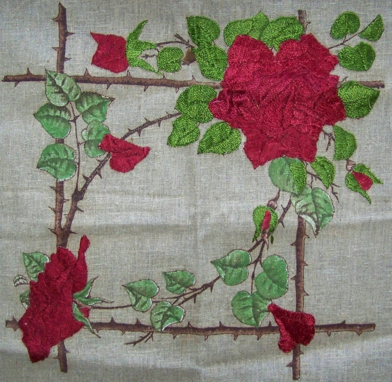 Victorian  Pillow Top Intense Silk Embroidered  Roses PROJECT