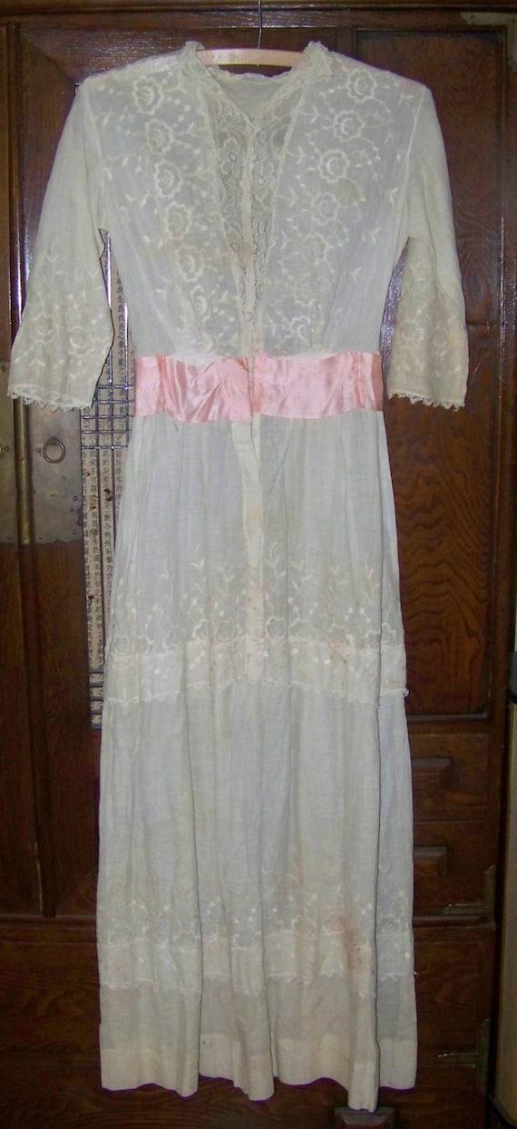 ANTIQUE Edwardian Beautiful White Eyelet Dress Wit
