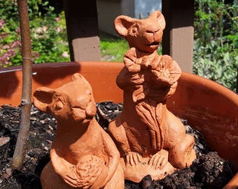 terracotta garden mice - set of 2