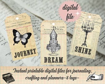 Dream Journey Vision Board Art Printable Travel Journal Junk Journal You Can Do It Dream Big Tag Digital Ephemera Journal Spot Vintage Tag