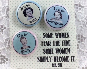 Be Fearless Gutsy Girl Power You Can Do It Women Are Strong Love Yourself Feminist Pins Determined Women Empowerment Pins Self Care