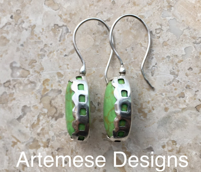 Apple Green Gaspeite and Silver Pierced Bezel Earrings