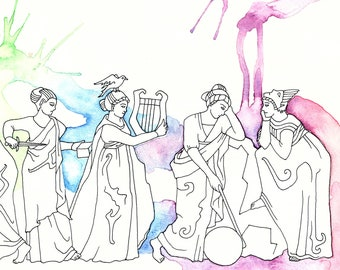 Large Nine Muses Print Based on Myth and Sculpture of Ancient Rome