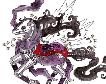 "Horse Skeleton Giclee Print from Original Illustration ""Nightmare"""