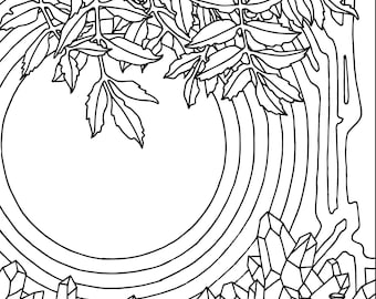 Witchy Adult Coloring Page Pack: Five Detailed Elemental Spell Printables for Relaxation and Intention Setting