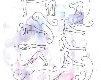 Sun Salutation Yoga Print for Studio Decoration, Inspiration or Practice