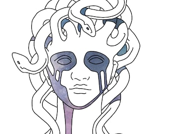 Myth of Medusa Print from Original Watercolor (Illustration Inspired by Ancient Greek Art)