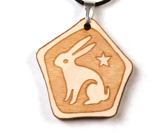 Wooden Rabbit Pendant, Symbolizing Love, Luck and Lunar Magic