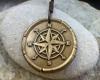 Compass Rose, Bronze Pendant, Sailing Gifts, Nautical Jewelry, Men's Jewelry, Sailor Necklace, 8th Anniversary, Grad Gifts, Compass Necklace