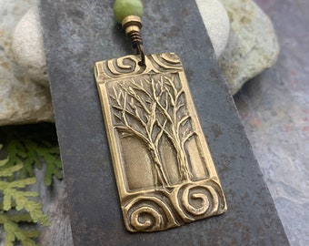 Two Trees Charm, Bronze Pendant, Irish Celtic Spirals, Hand Carved, Intertwined in Love, 8th Anniversary, Leather & Vegan Cords, Art Jewelry