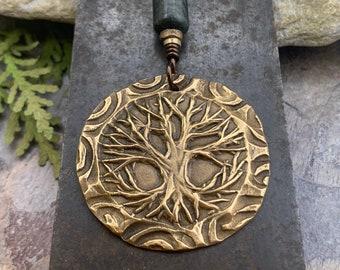 Celtic Tree of Life, Bronze Pendant, Connemara Marble, Irish Celtic Spirals, Round Tree of Life, Crann Bethadh, Hand Carved, Art Jewelry