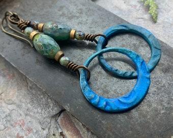 Bronze Hoop Earrings, Verdigris Patina, Czech Glass Beads, Hypoallergenic, Earthy Boho Jewelry, Aqua Turquoise Blue, Handmade Art Jewelry