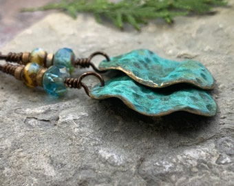 Bronze Wave Earrings, Colorful Verdigris Patina, Czech Glass Beads, Turquoise Blue, Earthy Boho Jewelry, Hypoallergenic, Handmade Art