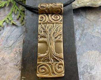 Celtic Tree of Life, Bronze Tree Pendant, Hand Carved Art Jewelry, Irish Celtic Spirals, Crann Bethadh, 8th Anniversary, Soul Harbor Jewelry