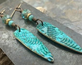 Bronze Fern Earrings, Verdigris Patina, Teardrop Dangle, Czech Glass Beads, Boho Hippie Style, Shield Earrings, Earthy, Soul Harbor Jewelry