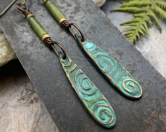 Bronze Spiral Shield Earrings, Connemara Marble, Verdigris Patina, Irish Celtic, Celtic Witch Goddess, Pagan Wicca, Handmade Art Jewelry
