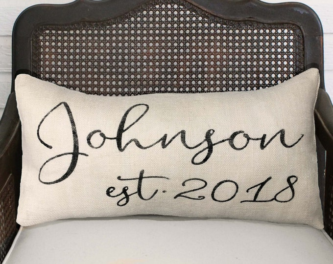 Calligraphy Name Pillow with est. date -  Burlap Pillow Lumbar Style - Name Pillow - Date Pillow