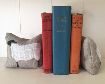 Suffolk Sheep Bookends - Petit Feed Sack Pillow Pair - Unique paper weight, bookends, pin cushion, etc