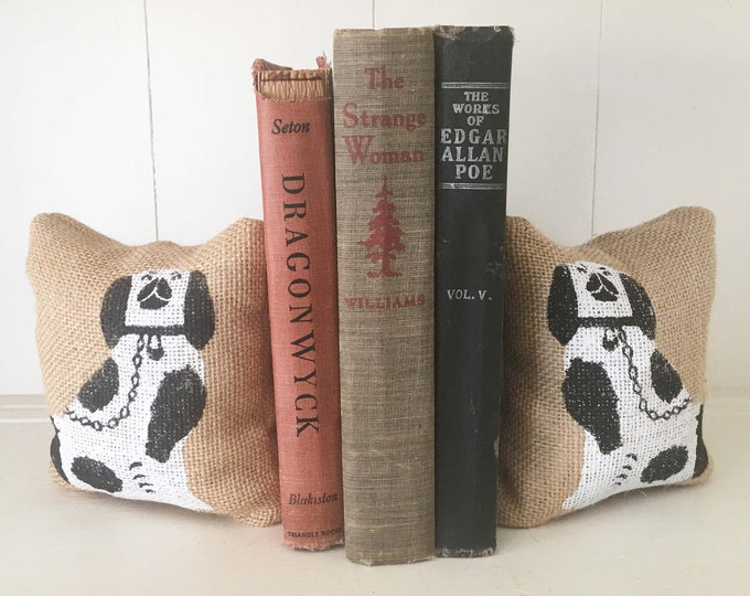 Manor House Staffordshire Dogs -  Petit Feed Sack Pillow Pair - Unique paper weight, bookends, pin cushion, etc