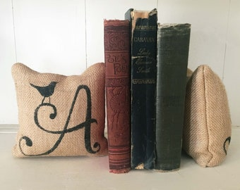 Bird Monogram - Letter bookends - Petit Burlap Feed Sack Pillow Pair - Unique paper weight, bookends, pin cushion, etc