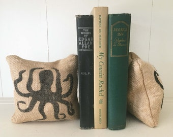 Octopus Bookends Pair  - Burlap Nautical Decor