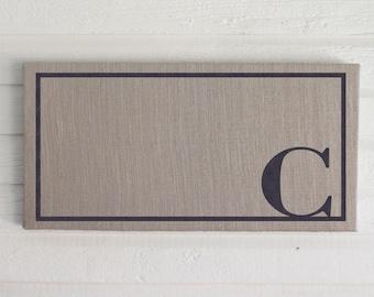 Classic Monogram 12x24  Burlap Covered Cork Message Board   Personalized Letter  Pin Board, Cork Board, Bulletin Board, Memo Board  - Custom
