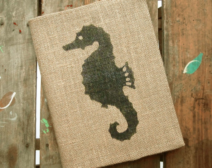 Seahorse  Burlap Journal  - Refillable Journal Cover  - Notebook included - Seahorse Journal - Nautical Journal - Composition Notebook Cover