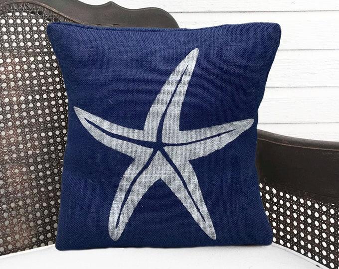 NEW * Starfish Pillow  -  Square Burlap Pillow - Coastal  Pillow - Beach Cottage - Nautical Decor - Throw Pillow