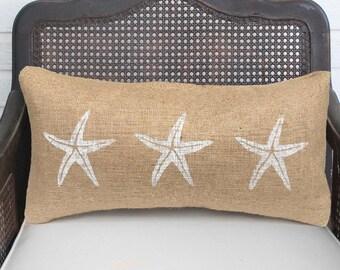 Starfish Pillow  - Burlap Pillow - Coastal  Pillow - Lumbar Pillow - Beach Cottage - Nautical Decor - Throw Pillow