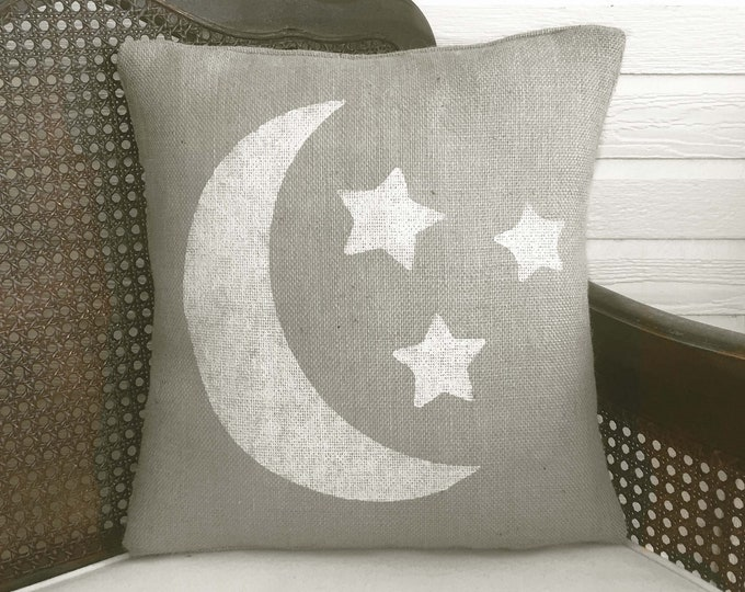 Moon and Stars Burlap Pillow -  Moon Silhouette Star  - Moon and Star Decor  - Gray pillow - Bedroom Pillow