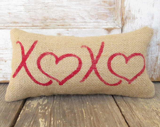 XOXO - Hugs and Kisses - Burlap Feed Sack Doorstop - Love - Hearts - Valentine Decor - Valentines Day