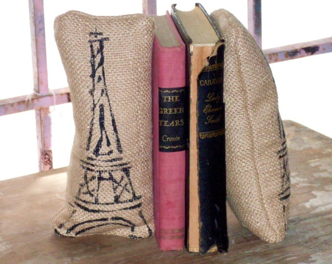 Eiffel Tower- Petit Feed Sack Pillow Pair - Unique paper weight, bookends, pin cushion - Paris themed Eiffel Tower Decor - French Office