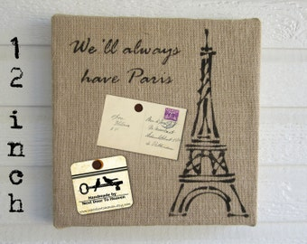 Eiffel Tower Paris - Burlap over Cork Message Board 12 inch - Pin Board French Bulletin Board Memo Board - Paris Wall Art Eiffel Tower