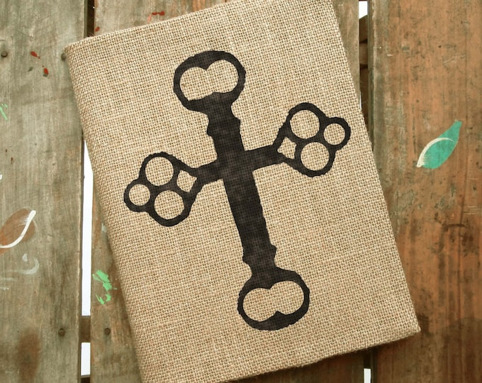 Skeleton Key Cross-  Burlap Feed Sack Journal Cover w. Notebook - Refillable Composition Notebook Cover