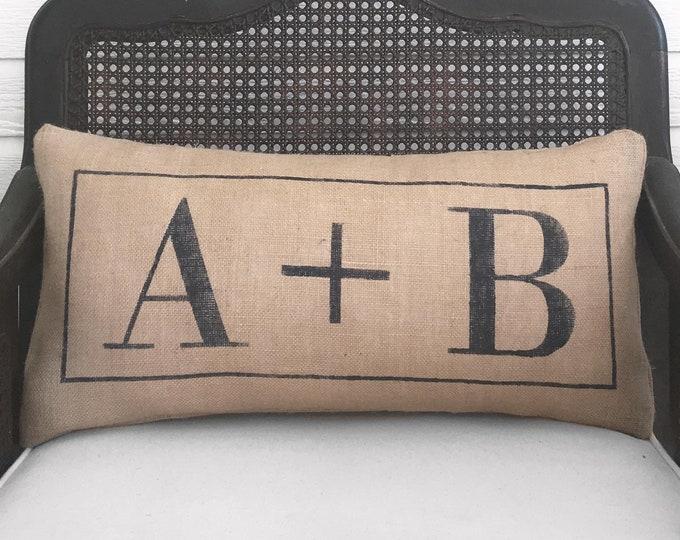 Classic Love Letters Monogram - Burlap Pillow - Initial Pillow