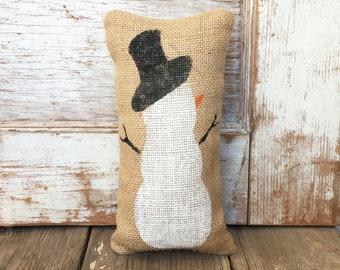 Snowman -  Burlap Feed Sack Doorstop - Hand painted  - winter decor