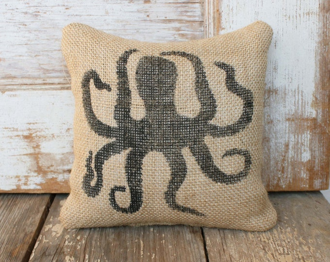 Octopus -  Burlap Feed Sack Doorstop - Nautical Door Stop - Octopus Decor - Octopus Silhouette
